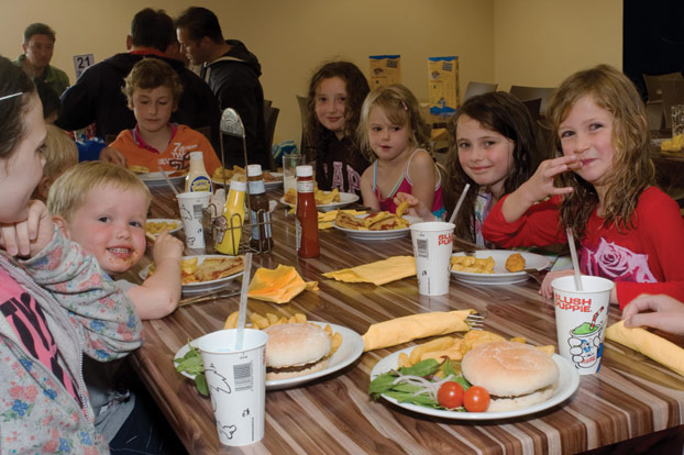 Kids Eating at the Jurassic Fun Centre
